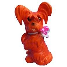 Skye Silky Papillon terrier perfume lamp Goebel Germany art deco orange dog
