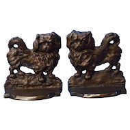 1930s Pekingese Tibetan Spaniel bronze bookends