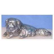 1930s silver Pekingese Tibetan Spaniel dog inkwell on marble