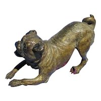 """pug bronze Vienna Austria 5"""" dog"""