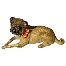 bronze Pug Vienna Austria doll house mini dog red collar