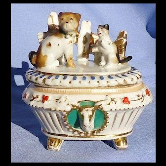 antique Pug cat trinket box