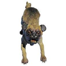 "antique bronze Pug play bow pen wipe Vienna Austria 5"" dog"
