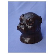 1890s pug Black forest wood pipe holder