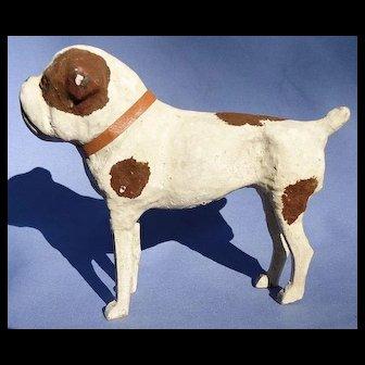 "antique Papier Mache putz bulldog salon dog French fashion doll Germany 7"""