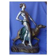 "1935 art deco nude & Borzoi bronze Lindner 18"""