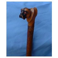antique PUG riding crop carved wood glass eyes