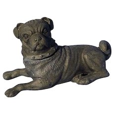 antique PUG Victorian dog inkwell 5""