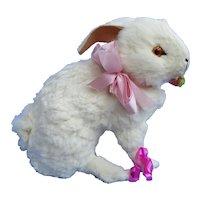 "Antique RABBIT salon pet Kestner Jumeau Bru French fashion doll companion Germany label 7"""