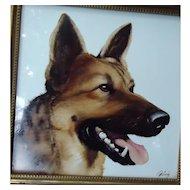 1950s Rosenthal German Shepherd Alsatian dog painting