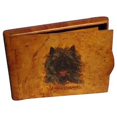 Cairn terrier by Leonard Borman burl wood cigarette case Russia