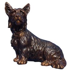 1930 bronze Scottish terrier Scotty dog K&O 7""