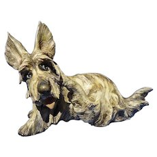 Scottish Terrier A Borsato signed Wheaten Brindle Scotty dog Italy 7""