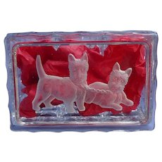 "Scottish Terrier crystal cigarette box 5"" Scotty dogs Meta Pluckebaum art"