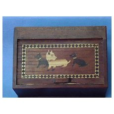 1930s Scottish terrier double inkwell wood Scotty dogs