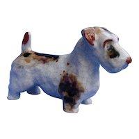 "Sealyham  Cesky terrier Karlsruhe German majolica pottery dog 7"""