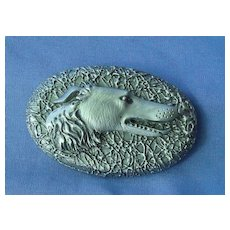 """carved wood Borzoi pin 3"""""""