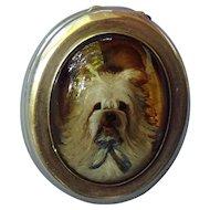 antique silver snuff  box Skye Silky terrier Essex crystal