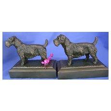 1930s JB Sealyham Cesky terrier bronze bookends Jennings Brothers dogs