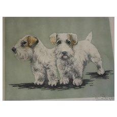 Sealyham/Cesky terriers etching LE 064/350 pencil signed