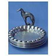 deco Borzoi silver plate tray set
