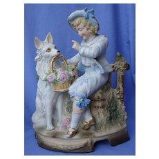 """white German Shepherd spitz American Eskimo & boy Victorian bisque 11"""""""