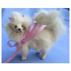 "antique fur Spitz Samoyed Pomeranian French fashion doll salon dog Germany label 3"""