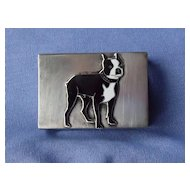 sterling silver Boston terrier match box hldr