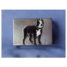 sterling silver Boston terrier match box hldr