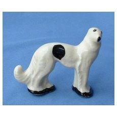 1930s Stangl Borzoi wolfhound white/black dog