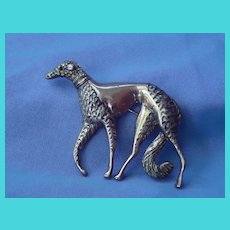 Art Deco sterling silver BORZOI pin marked
