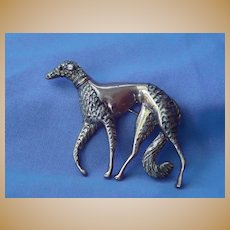 Art Deco sterling silver BORZOI pin marked