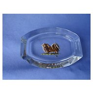 Tibetan spaniel Pekingese  art deco  glass tray