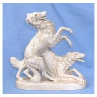 1930s bisque Borzoi playing pair Germany 6""