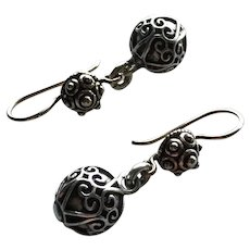 Bali and Style - Embossed Hearts - Dangle Earrings