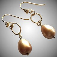 Brassy Copper - Cultured Freshwater Pearl Teardrop Dangle Earrings