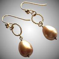 Brassy Copper - Cultured Freshwater Pearl Teardrop Dangle Earrings