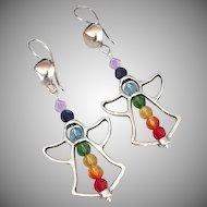 Swarovski Crystal - Chakra Angel Dangle Earrings