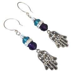 Swarovski Crystal - Hamsa Hands - Dangle Earrings