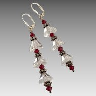 Facet Cut - Dazzling - Natural Icy Quartz Crystal, Swarovski Crystal, Bali Sterling Silver Dangle Earrings