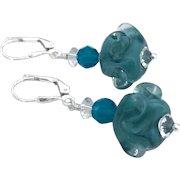 Italian Moretti Glass Artisan Lampwork, Swarovski Crystal, Sterling Silver Dangle Earrings
