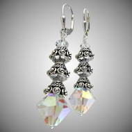 Dazzling Swarovski Crystal Aurora Borealis, Bali Sterling Silver Dangle Earrings