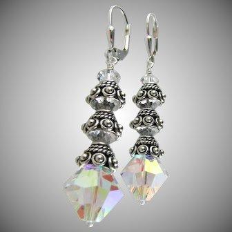 Dazzling Swarovski Crystal Aurora Borealis, Bali Sterling Silver Dangle Earrings
