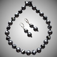 Reflective Hematite - Swarovski Crystal - Matching Necklace and Earring Set