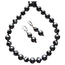 Reflective Hematite - Swarovski Crystal - Matching Necklace and Earring Set