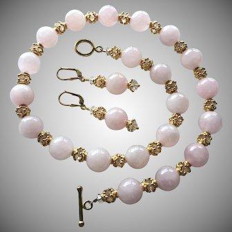 Rose Quartz, Swarovski Crystal, Vermeil - Beaded Necklace and Earrings