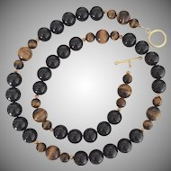 Bold 12 mm - Timeless Onyx and Tigereye - 24 Inch Necklace