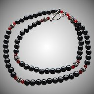 Timeless - Steely Hematite, Bali Sterling Silver, Swarovski Crystal - 20 Inch Necklace