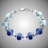 Etched Italian Moretti Glass - Blues - Lampwork Bracelet