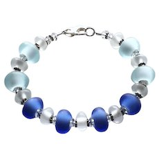Etched Italian Moretti Glass - Blues - Lampwork Bracelet